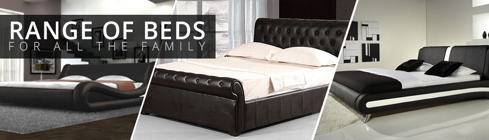 Black Leather/silver Striped 4ft6 Double Bed Frame Furniture Mattress Options Available Less Expensive Beds & Mattresses